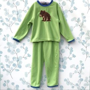 Lands End Brown Bear Green Fleece Pajamas